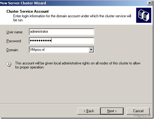 Учетная запись службы Cluster должна быть доменной учетной записью, а