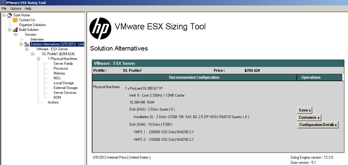 hp vmware solution sizer